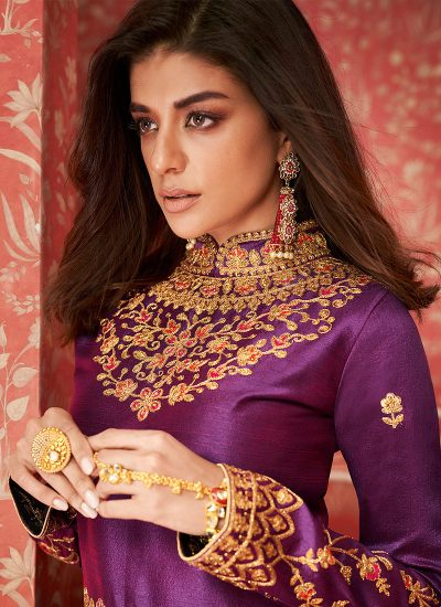 Purple and Gold Embroidered Lehenga Anarkali