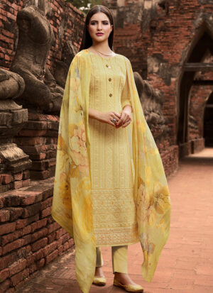 Yellow Embroidered Straight Pant Suit