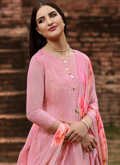 Light Pink Embroidered Straight Pant Suit