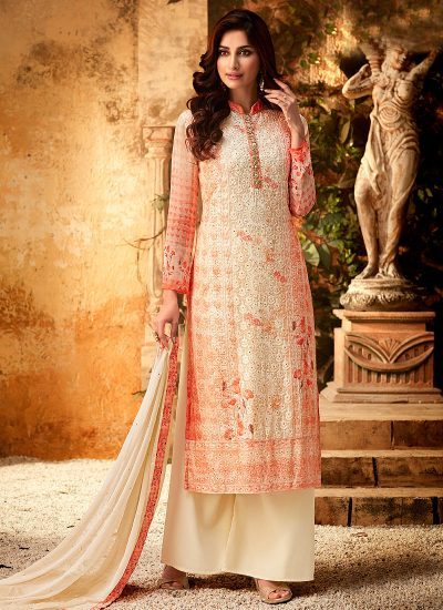 Red and Cream Embroidered + Printed Palazzo Suit