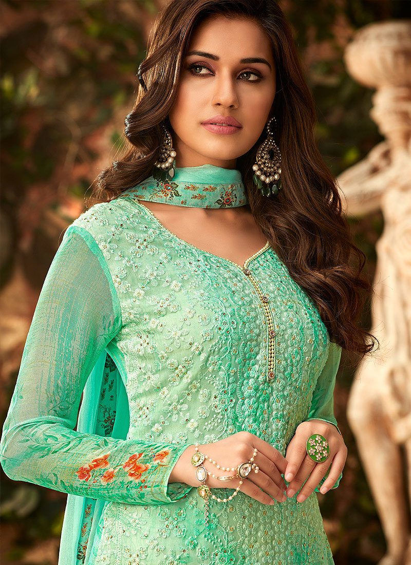 Sea Green Embroidered + Printed Palazzo Suit
