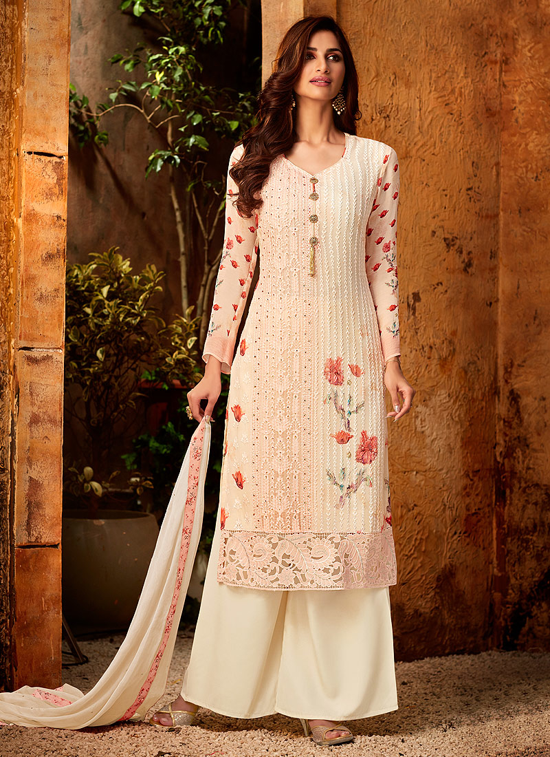 Light Orange Embroidered + Printed Palazzo Suit
