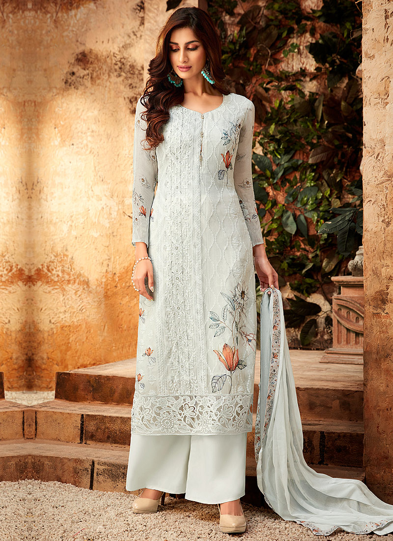 Light Grey Embroidered + Printed Palazzo Suit