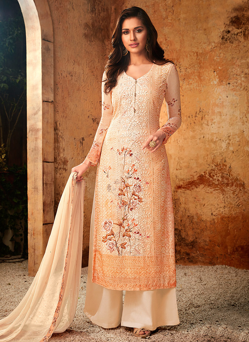 Orange and Cream Embroidered + Printed Palazzo Suit