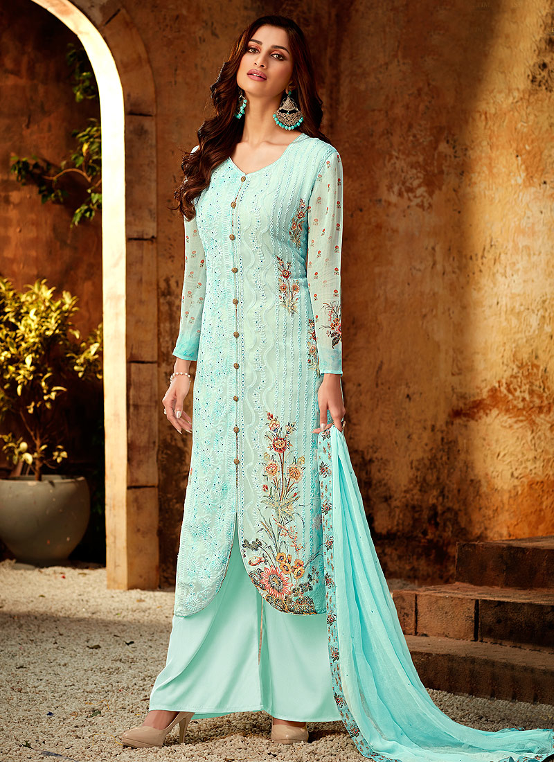Sky Blue Embroidered + Printed Palazzo Suit