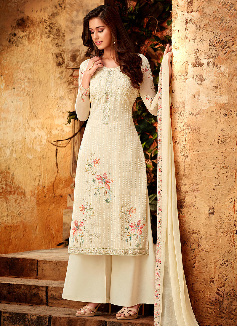 Cream Embroidered + Printed Palazzo Suit