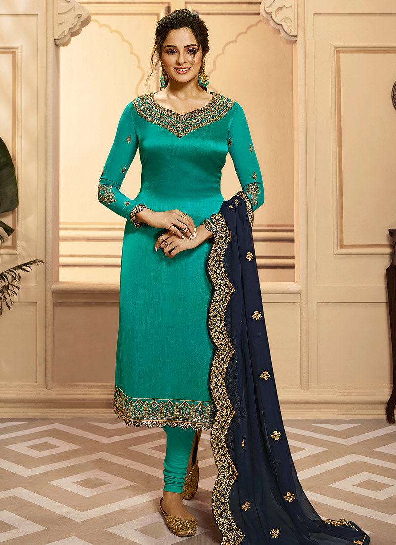 Teal and Blue Embroidered Palazzo/ Straight Suit