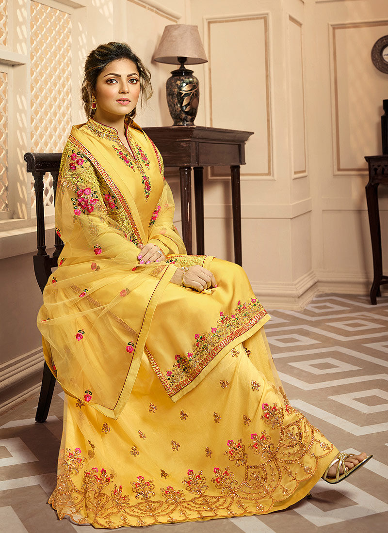 Yellow Floral Embroidered Palazzo/ Straight Suit