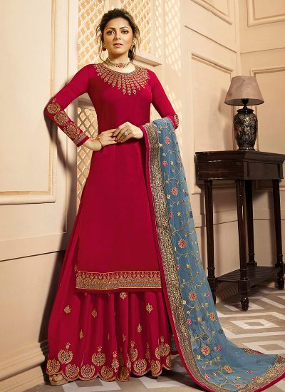 Red and Grey Embroidered Palazzo/ Straight Suit