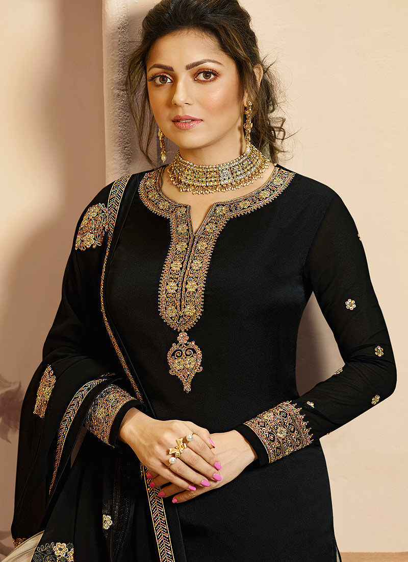Black and Grey Embroidered Palazzo/ Straight Suit