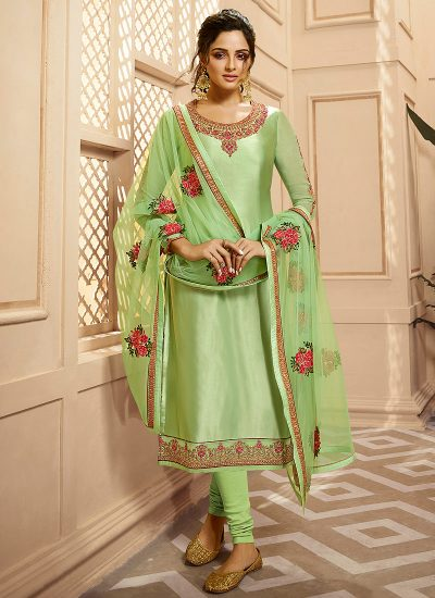 Light Green Embroidered Palazzo/ Straight Suit