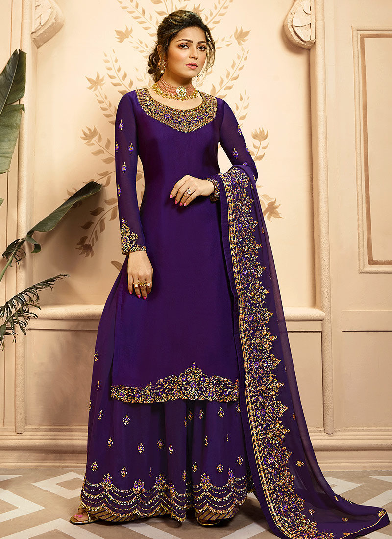 Purple amd Gold Embroidered Palazzo/ Straight Suit