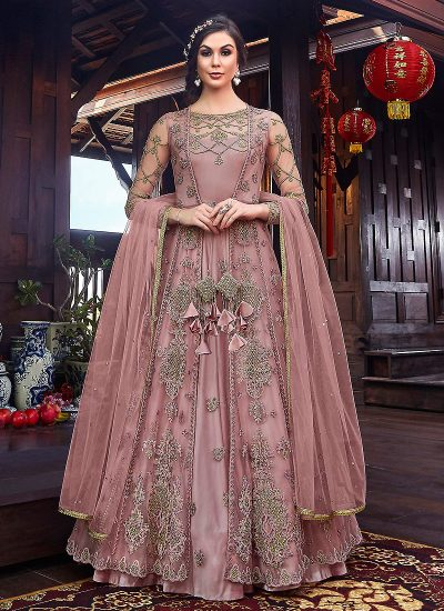 Mauve and Gold Embroidered Jacket Style Anarkali