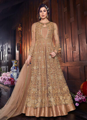 Golden Beige Embroidered Jacket Style Anarkali