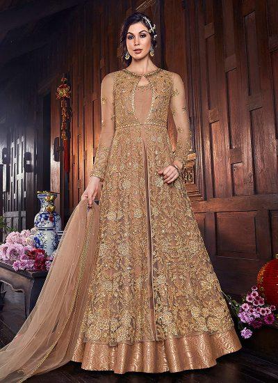 Golden Beige Embroidered Jacket Style Anarkali