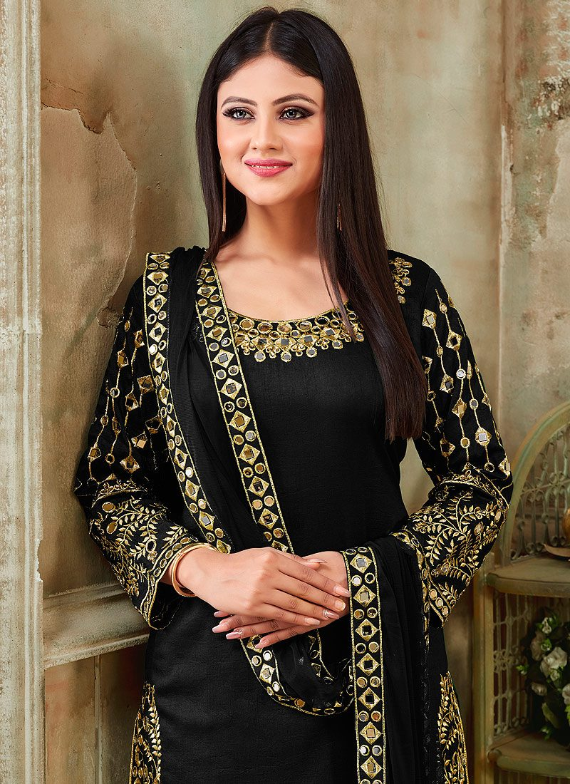 Black and Gold Embroidered Punjabi Suit