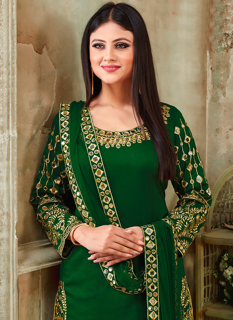 Green and Gold Embroidered Punjabi Suit