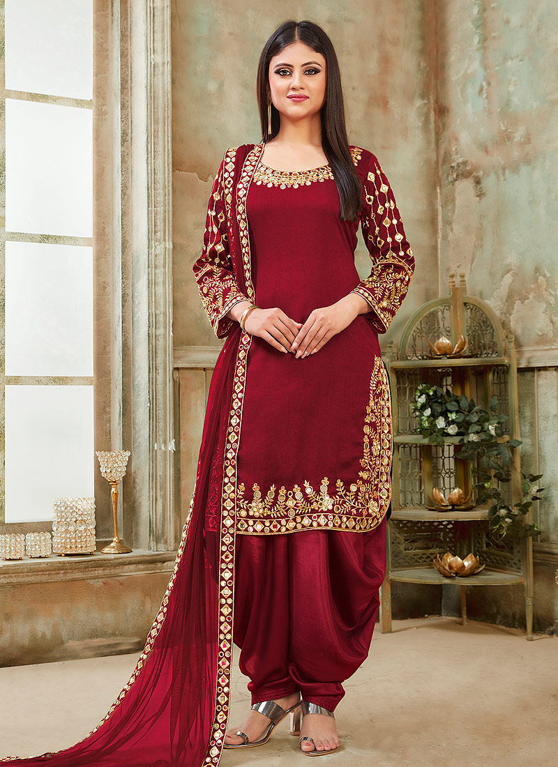 Red and Gold Embroidered Punjabi Suit