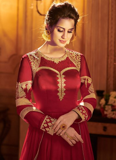 Red and Beige Embroidered Lehenga Anarkali