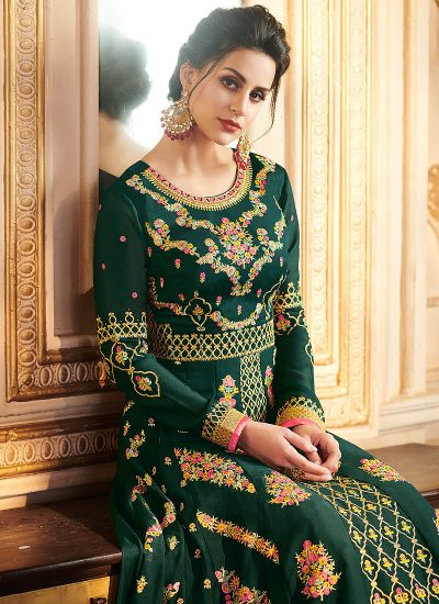 Green and Gold Embroidered Lehenga Anarkali