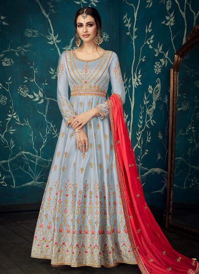 Grey and Red Embroidered Anarkali