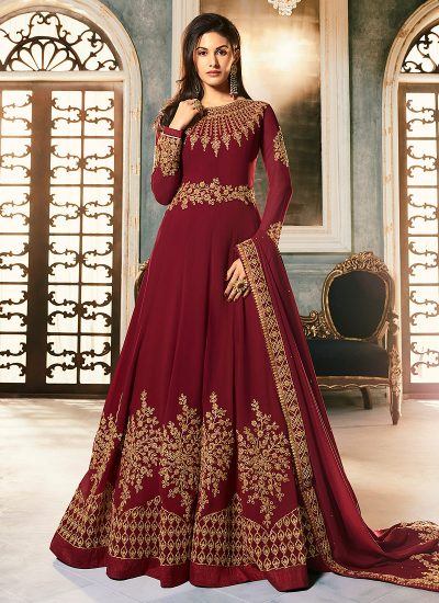 Red and Gold Embroidered Anarkali