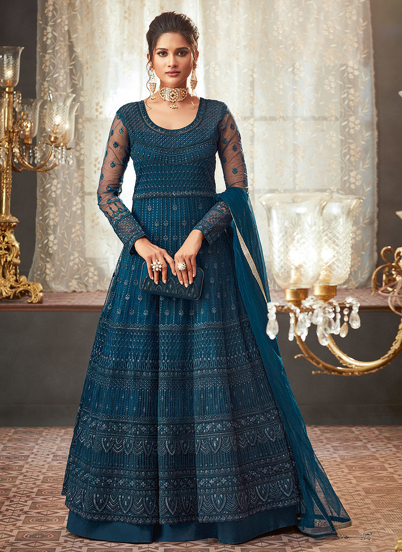 Dark Teal Heavy Embroidered Anarkali