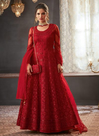 Red Heavy Embroidered Anarkali