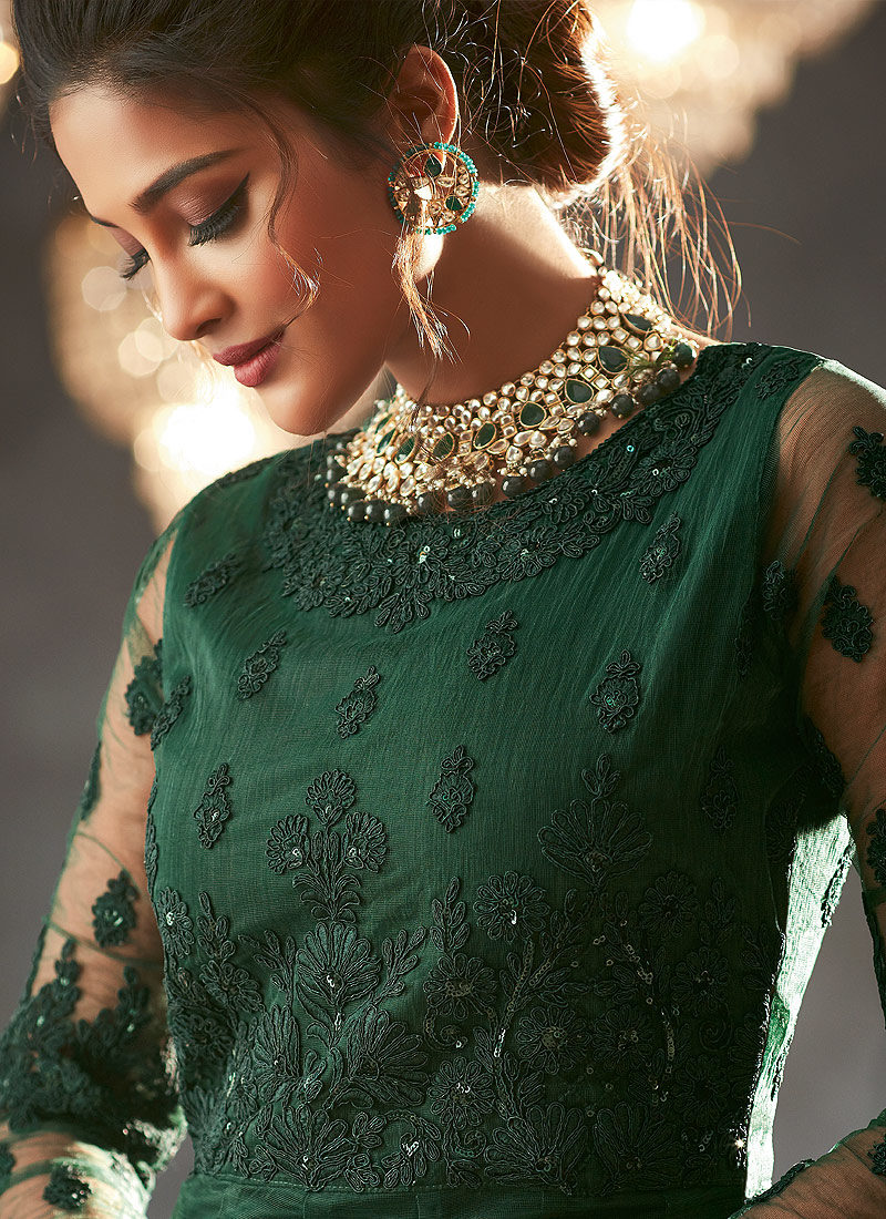 Dark Green Heavy Embroidered Anarkali
