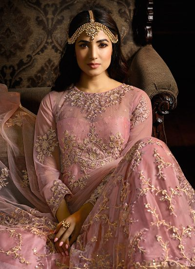 Light Pink and Gold Embroidered Anarkali