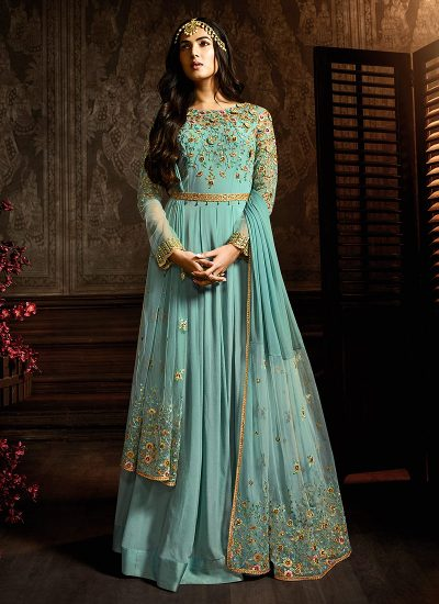 Aqua and Gold Embroidered Anarkali
