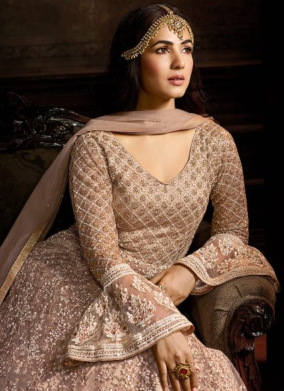 Grey and Gold Heavy Embroidered Anarkali