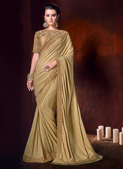 Chikoo and Gold Embroidered Saree