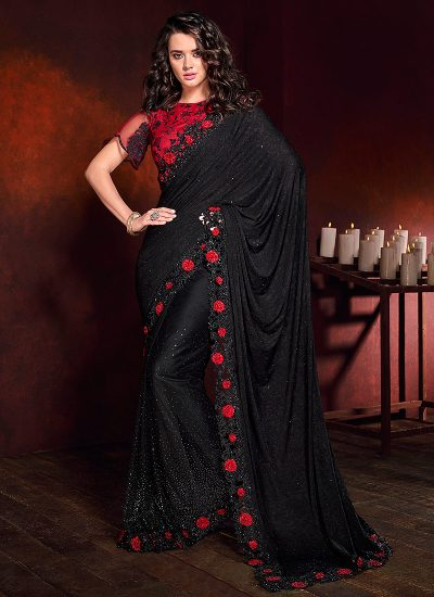 Black and Red Embroidered Saree