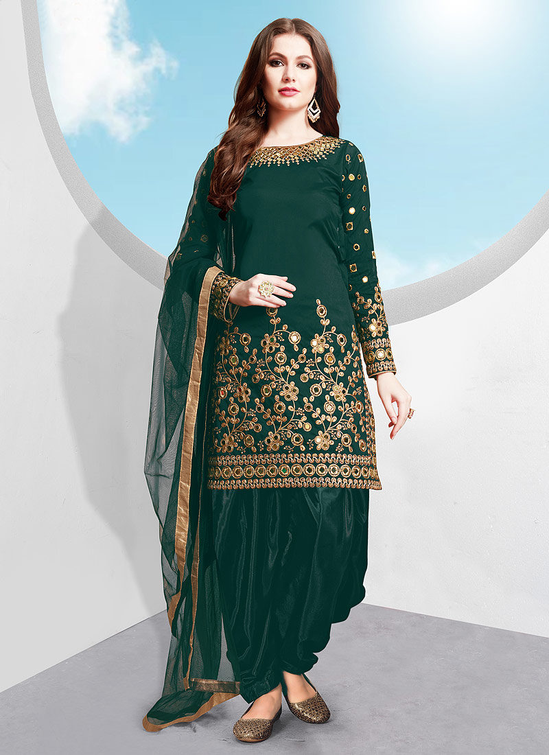 Teal and Gold Embroidered Punjabi Suit