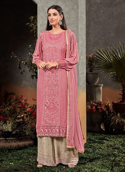 Pink and Beige Embroidered Palazzo Suit