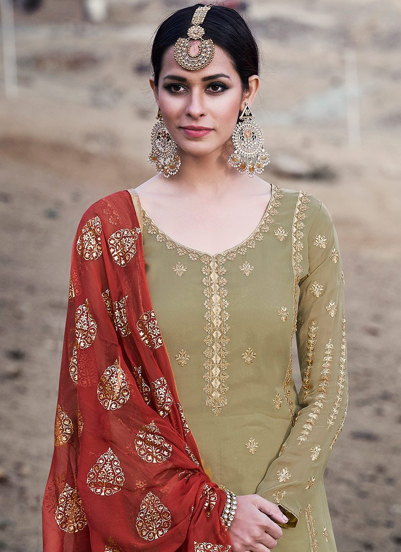 Light Green and Red Embroidered Sharara Suit