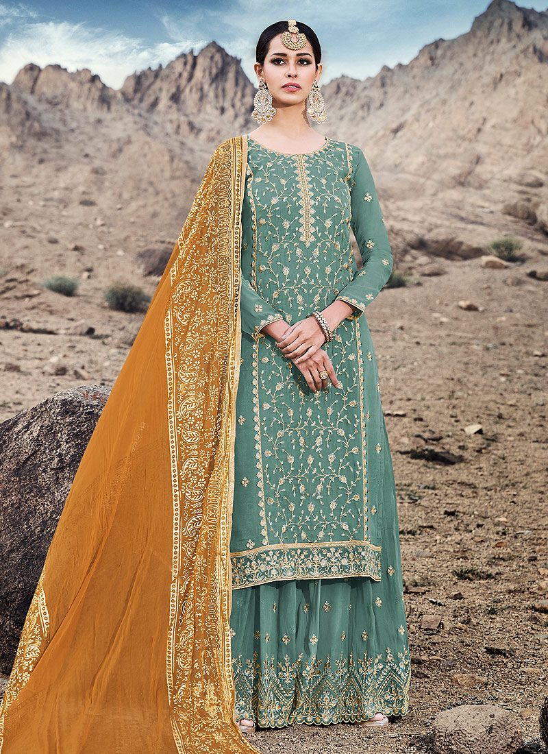Sea Green and Mustard Embroidered Sharara Suit