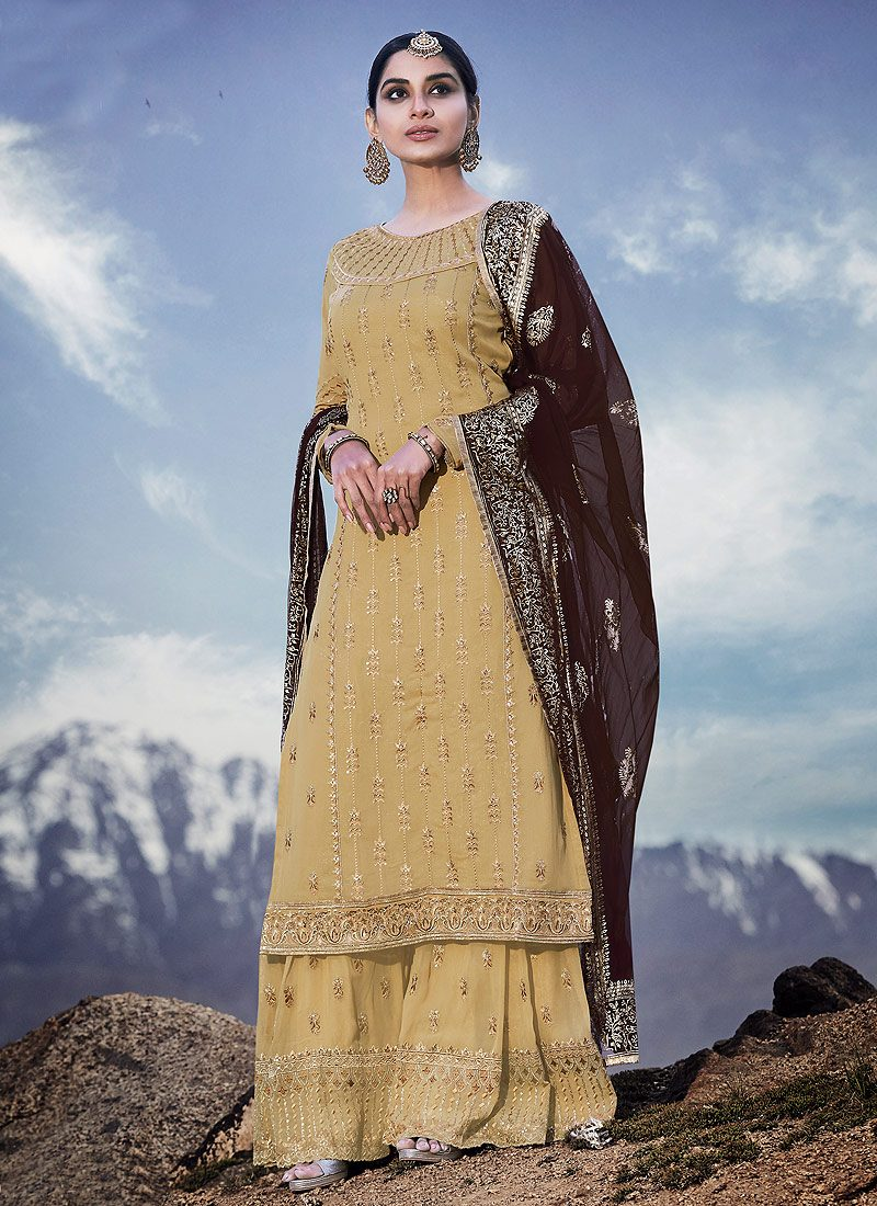 Light Yellow and Brown Embroidered Sharara Suit