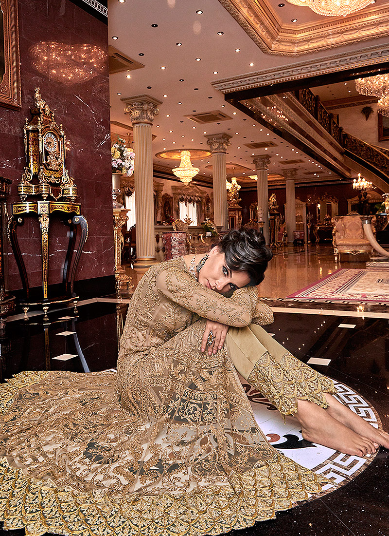 Beige and Gold Embroidered Lehenga/ Pant Style Anarkali