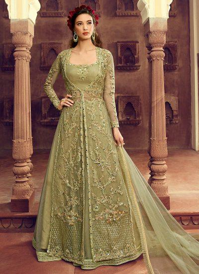 Pastel Green Embroidered Jacket Style Lehenga