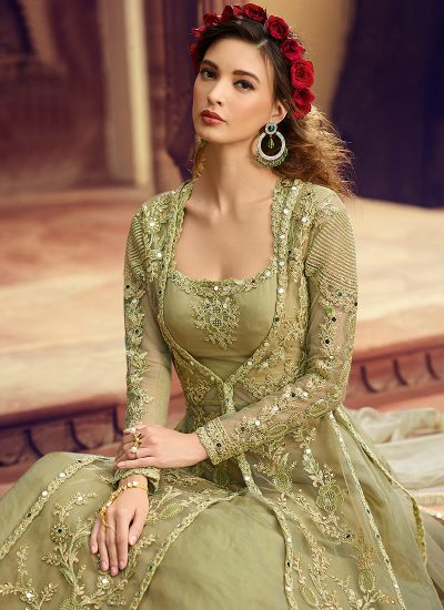 Pastel Green Embroidered Jacket Style Lehenga