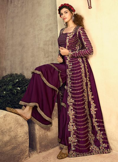 Wine and Gold Embroidered Jacket Style Suit