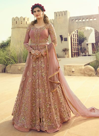 Light Pink Embroidered Lehenga/ Pant Style Anarkali