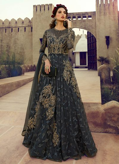 Charcol Grey Embroidered Anarkali Gown