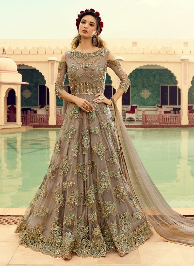 Grey and Gold Embroidered Anarkali Gown