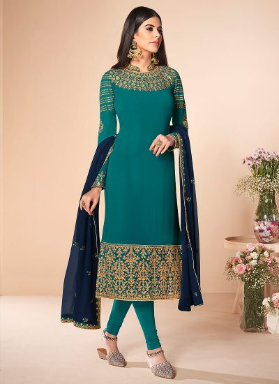Teal and Green Embroidered Straight Suit