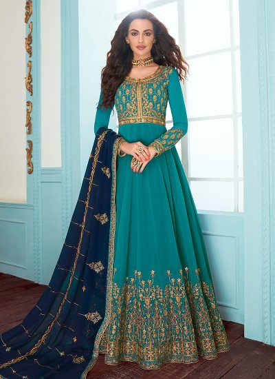 Teal and Blue Embroidered Anarkali
