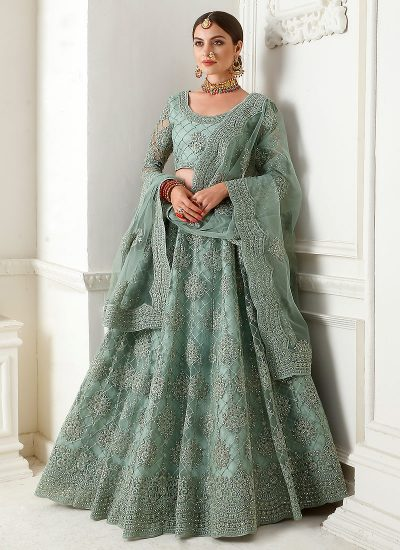 Teal Grey Heavy Embroidered Lehenga