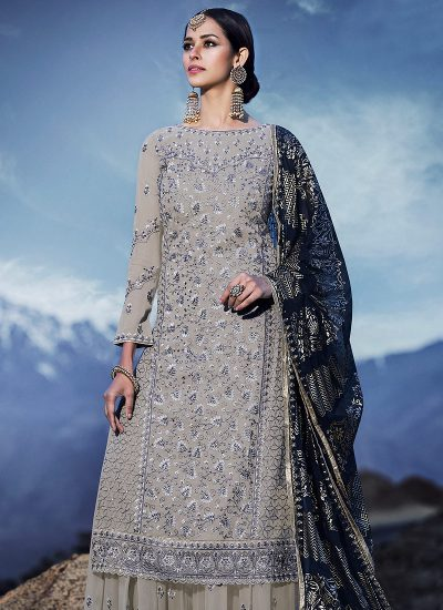 Grey and Blue Embroidered Sharara Suit